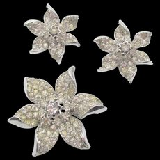 Vintage R DeRosa Sterling Crystal Rhinestone Brooch and Earrings