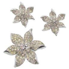 Vintage R DeRosa Sterling Crystal Rhinestone Brooch and Earrings