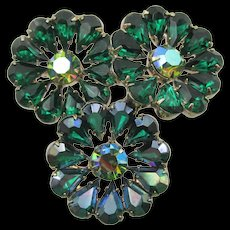 Vintage Emerald Green and AB Rhinestone Tri-floral Brooch
