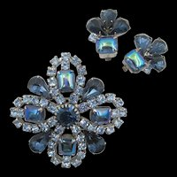 Vintage Blue AB Rhinestone Brooch and Earring Set