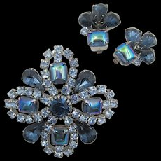 Vintage Blue AB Rhinestone Brooch and Earring Set