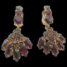 Vintage Gold Filled Garnet Cluster Bohemian Drop Earrings