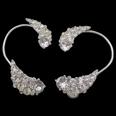 Signed Bogoff Crystal Rhinestone Ear Wraps 1950s