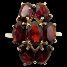 14K Yellow Gold Garnet Cluster Ring