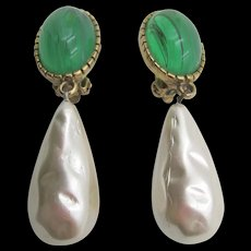Vintage Flawed Emerald and Faux Pearl Drop Earrings