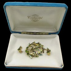 Continental Green Slim Navette Brooch Earring Set in Original Box