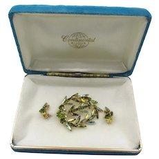 Continental Green Slim Navette Brooch Earring Set in Original Box