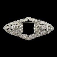 Art Deco 1931 Patented Crystal Rhinestone Duette Dress Clip Brooch