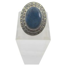Art Deco Marcasite and Lapis Lazuli Sterling Ring