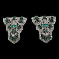 Rare Pair Art Deco Ralph DeRosa Emerald Green and Crystal Rhinestone Dress Clips