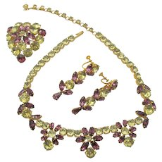 Kramer Of New York Yellow and Purple  Rhinestone Necklace, Brooch and Drop Earring Set