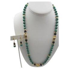 Vintage GF Malachite Black Onyx Beaded Necklace and Pierced Earrings