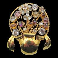 Signed Vogue Jewelry Crystal Rhinestone Flower Pot Brooch