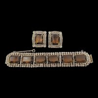 Gorgeous Chunky Topaz and Crystal Rhinestone Bracelet and Earring Set