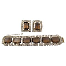 Gorgeous Chunky Topaz and Crystal Rhinestone Bracelet and Earring Set