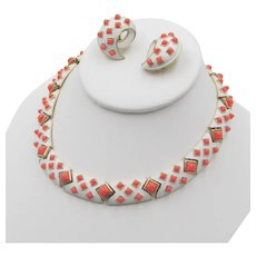 Trifari 1960s White Enamel and Coral Cabochon Necklace and Earrings