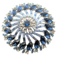 Large Montana Sapphire Navette, Light Sapphire Baguettes and Crystal Clear Rhinestone Round Brooch