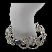 Art Deco Style Sapphire Blue and Diamante Crystal Rhinestone Panel Bracelet