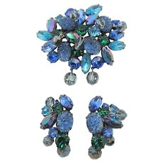 Kramer of New York Blue/Green/Purple  Art Glass Beaded Brooch and Earring Set