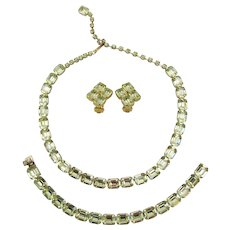 Signed Weiss Yellow Jonquil Rhinestone Necklace, Bracelet and Earring Parure
