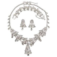 Spectacular Rhinestone Crystal Rhodium Plated Necklace, Bracelet and Earring Parure