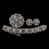 Gorgeous Kramer of New York Garnet Red Netted Rhinestone Bracelet, Brooch and Earring Parure Set