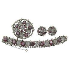 Gorgeous Kramer of New York Garnet Red Netted Rhinestone Bracelet, Brooch and Earring Parure Set