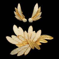 Vendome Large Gold Plated Faux Pearl Leaf Design Brooch and Earrings