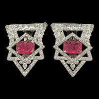 Rare Pair Art Deco Red Pressed Glass and Crystal Rhinestone Dress Clips