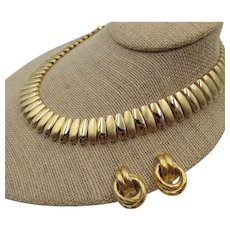 Napier Classic Brushed Gold Plated Necklace and Earrings