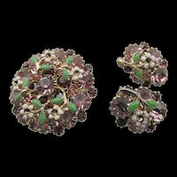Weiss Orchid RHinestone and Enamel Brooch and Earring Set