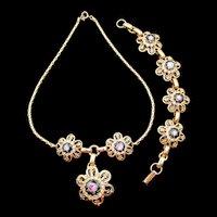 Vintage Black Pink Roses Guilloche  Enamel Rhinestone Necklace and Bracelet