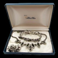 Weiss Black Diamond Rhinestone Necklace, Bracelet and Earring Set in Box