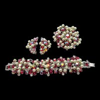 DeLizza & Elster Juliana Red AB Dangling Pearls Five-Link Bracelet, Brooch and Earring Set