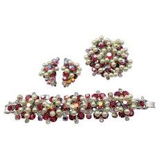 DeLizza & Elster Juliana Red AB Dangling Pearls Five-Link Bracelet, Brooch and Earring Set
