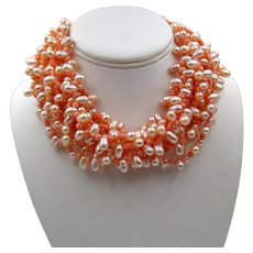 Ciner Faux Coral and Pearl Multi-Strand Torsade Necklace