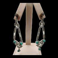 Art Deco Paste Faux Emerald and Diamante Crystal Drop Pierced Earrings
