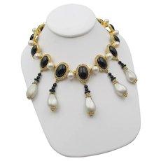 Vintage KJL Kenneth Lane Faux Pearl and Black Glass Cabochon Bib Necklace