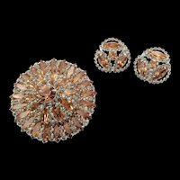 Stunning Signed Weiss Champagne Rhinestone Brooch and Earring Set