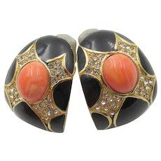 Ciner Black Enamel, Coral and Diamante Rhinestone Hoop Pierced Earrings
