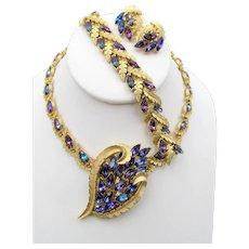 Spectacular Crown Trifari Heliotrope Rhinestone Necklace, Bracelet, Brooch and Earring Grand Parure