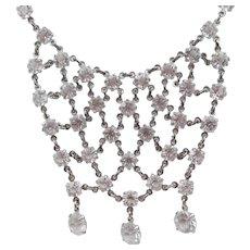Vintage Art Deco Open Back Crystal Rhinestone Drop Festoon Necklace
