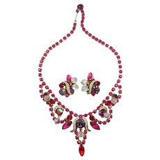 Exquisite Kramer Red and Pink Rhinestone Drop Necklace and Earring Set