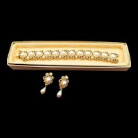 Coro Craft Faux Pearl and Rhinestone Gold Plated Bracelet and Drop Earrings - Original Box