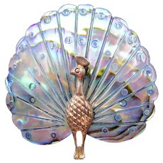 Abalone Peacock Brooch in Original Box