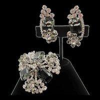DeLizza & Elster Juliana Black Diamond Rhinestone Brooch and Clip Earring Set