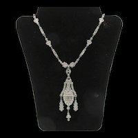 Art Deco Paste Rhinestone Drop Necklace