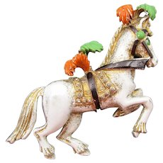 Florenza Enamel and Rhinestone Circus Carousel Horse Pin