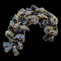 Hollycraft 1957 Sapphire and Light Blue Rhinestone Brooch