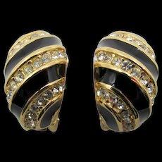 Christian Dior Black Enamel and Crystal Rhinestone Half Hoop Earrings